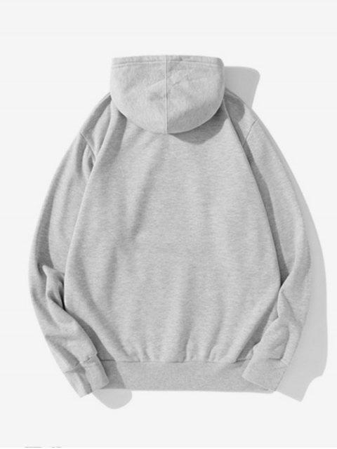 Pluma Gráfica informal con cordón Fleece con capucha - Gris Claro 2XL Mobile