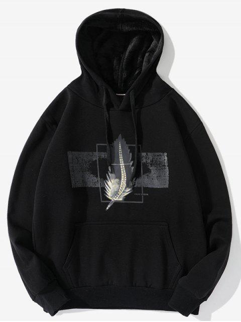 Pluma Gráfica informal con cordón Fleece con capucha - Negro XL Mobile
