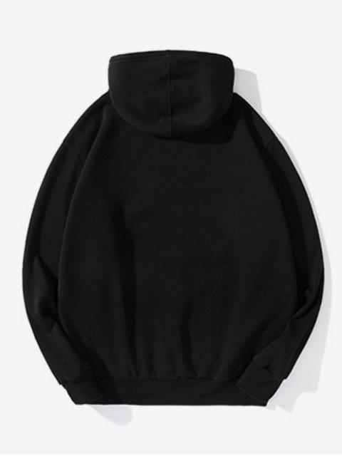 Pluma Gráfica informal con cordón Fleece con capucha - Negro 2XL Mobile