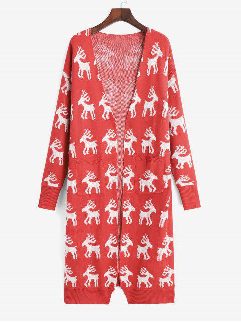 sale Christmas Elk Graphic Open Pocket Longline Cardigan - RED M Mobile
