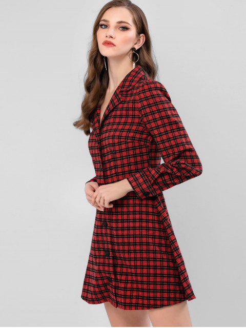 Botón ZAFUL Hasta tela escocesa mini vestido de la solapa - Vino Tinto XL Mobile