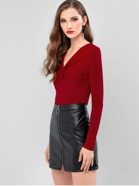 buy ZAFUL Twist Front Plunge Long Sleeve Tee - RED WINE S Mobile