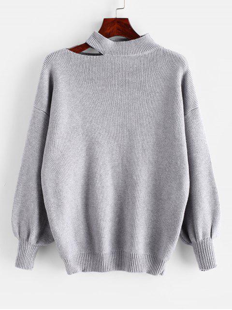 Suéter de cuello alto del hombro del recorte gota - Gris Talla única Mobile