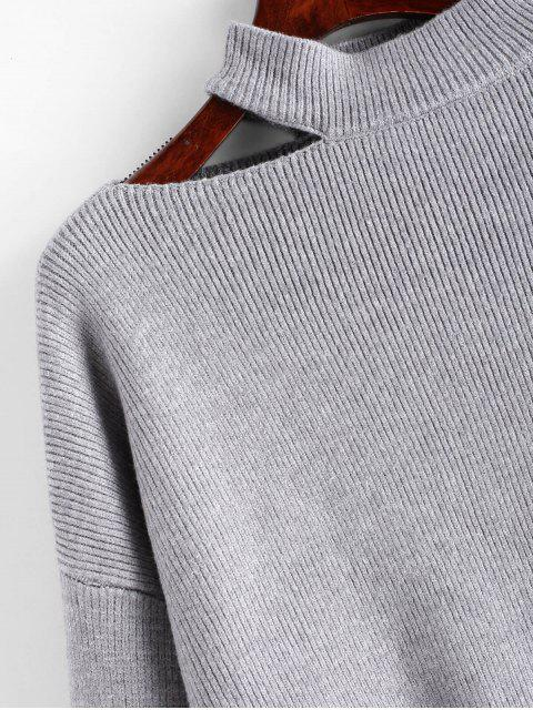 womens Cutout High Neck Drop Shoulder Sweater - GRAY ONE SIZE Mobile