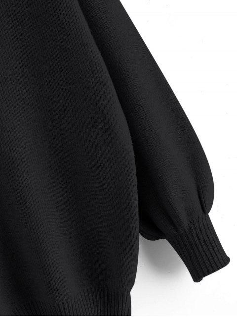 Ausschnitt Hohen Ansatz Tropfen Schulter Pullover - Schwarz Eine Größe Mobile