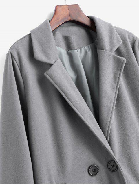 Doppelter Brust Tasche Regenmantel - Grau M Mobile