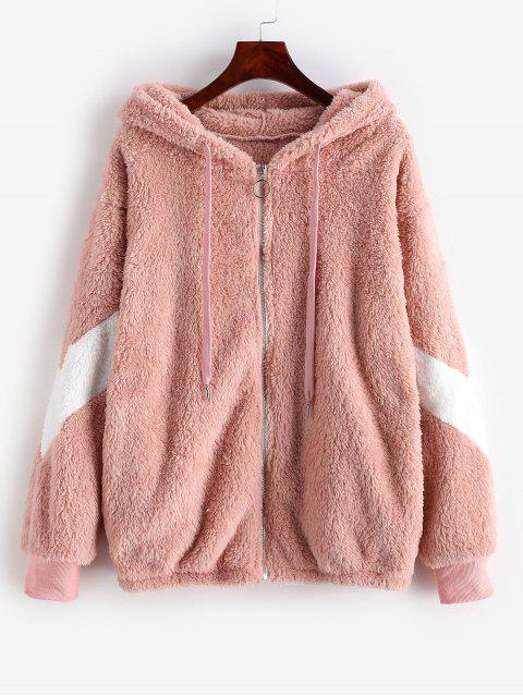 Manteau à Capuche en Blocs de Couleurs à Goutte Epaule en Fausse Fourrure - Rose  S Mobile