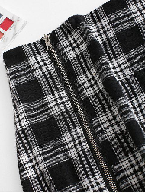 Volle Reißverschluss Karierter Taschen Minirock - Schwarz L Mobile