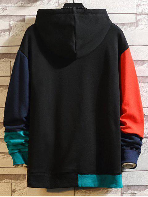 Sudadera con Capucha con Cordones de Empalme de Color Bloque - Negro 4XL Mobile