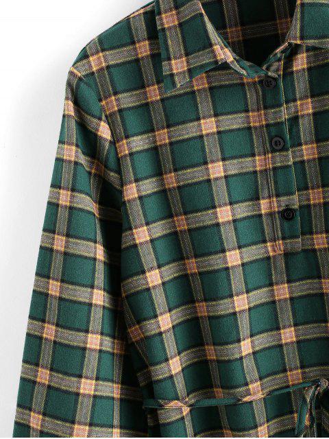 ZAFUL Kariertes Kleid mit Gürtel und Knopfleiste - Multi L Mobile