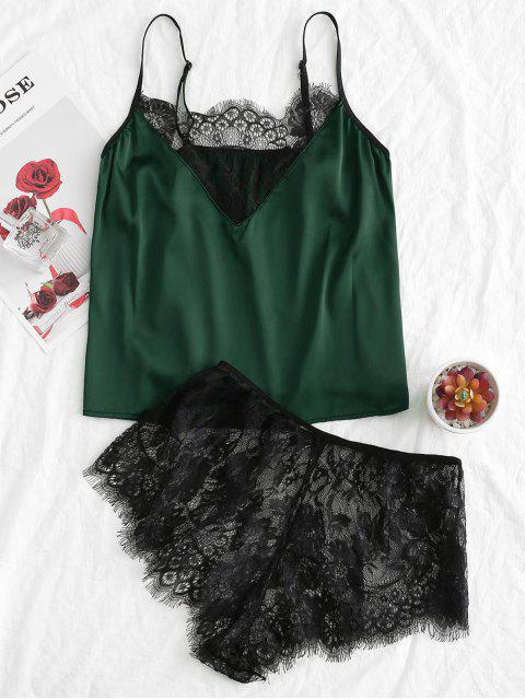 fashion Eyelash Lace Colorblock Camisole with Briefs - GREEN S Mobile