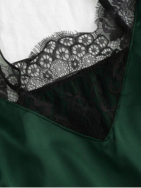 睫毛蕾絲吊帶背心Colorblock與簡報 - 綠色 S Mobile
