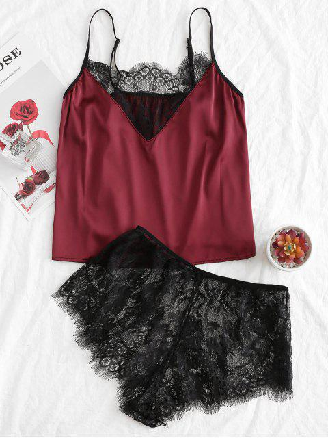 睫毛蕾絲吊帶背心Colorblock與簡報 - 紅酒 M Mobile