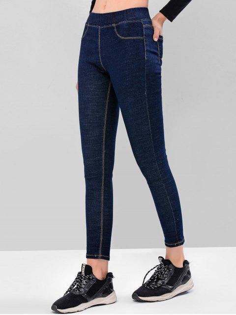 基本洗黑緊身牛仔褲 - 深藍 L Mobile