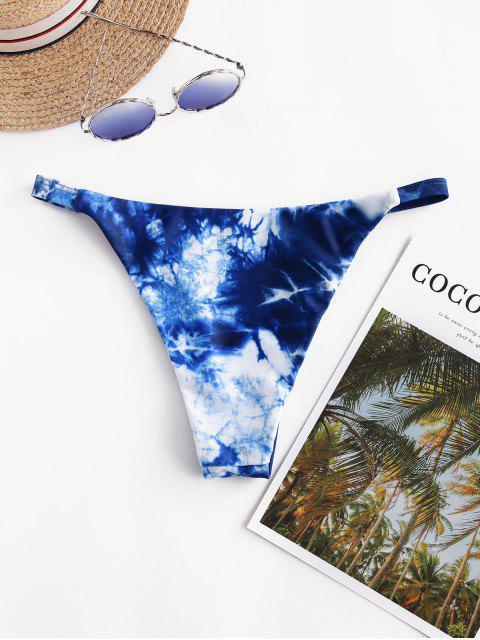 womens ZAFUL O Ring Tie Dye High Cut Bikini Bottom - COBALT BLUE S Mobile