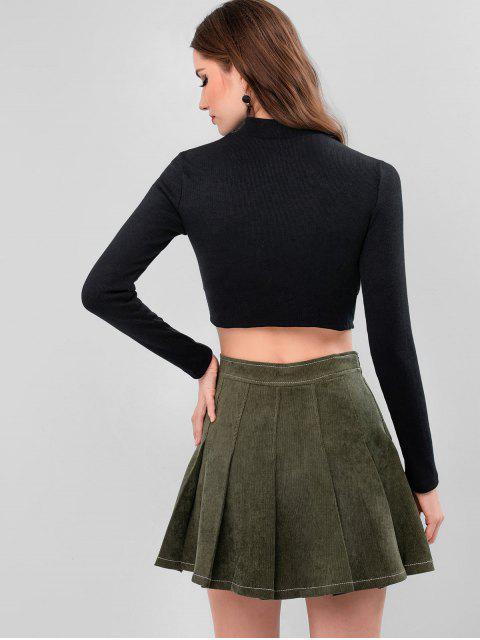 摳圖模擬領合身剪裁針織衫 - 黑色 L Mobile
