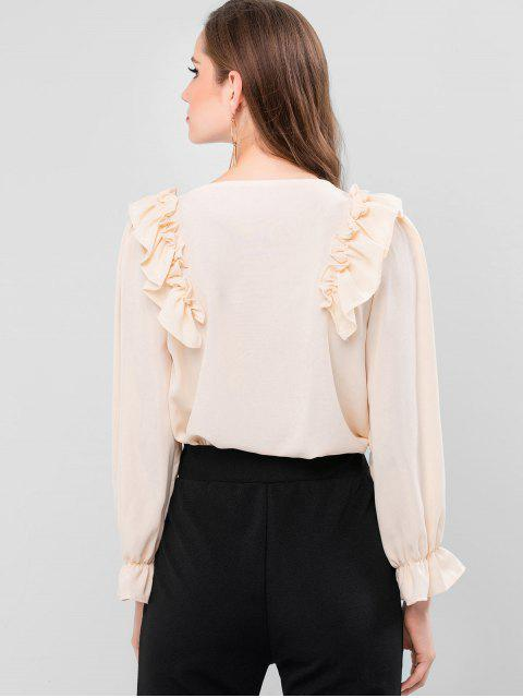 best Ruffled Cuff Frilled V Neck Blouse - APRICOT M Mobile