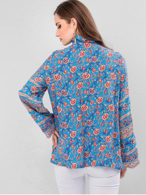 womens Flower Ruffle Neck Tassel Blouse - BLUE M Mobile