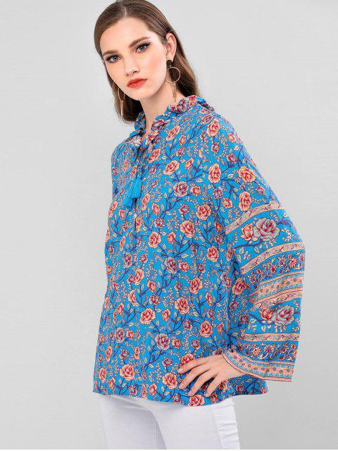 best Flower Ruffle Neck Tassel Blouse - BLUE L Mobile
