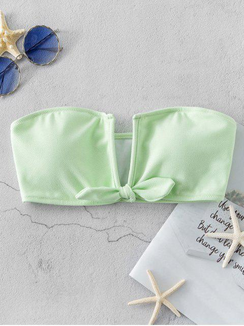 women's ZAFUL Textured V Wired Tied Bandeau Bikini Top - MINT GREEN L Mobile