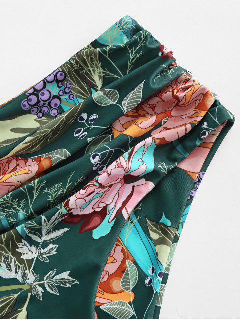 shops ZAFUL Flower Ruched High Cut Bikini Bottom - DEEP GREEN L Mobile