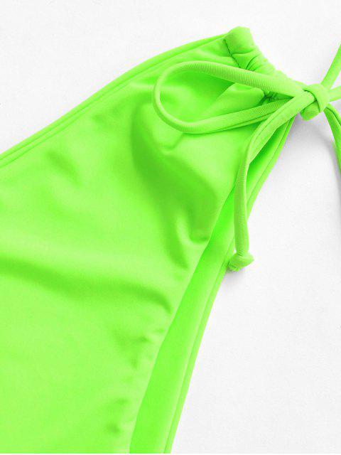 ZAFUL Bikini Bottom de Corte Alto con Lazo - Verde Amarillo M Mobile