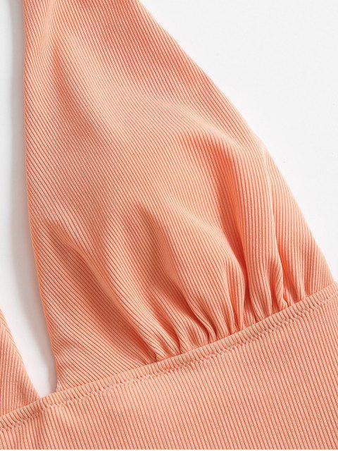 ZAFUL沃特羅紋高腿連體泳衣 - 輕的三文魚 XL Mobile
