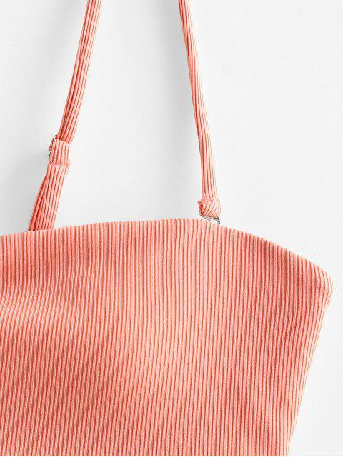 ZAFUL Bikini Bandeau Acanalado - Rosa Naranja S Mobile