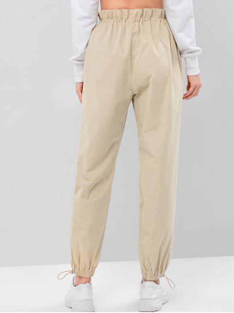 ZAFULソリッドカラー巾着ジョガーパンツ - ライトカーキ L Mobile