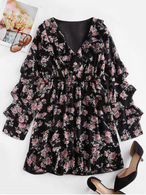 Vestido Floral de Gasa con Escote Cruzado en Capas - Negro S Mobile