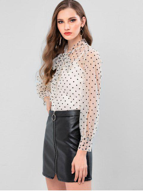 outfit Flocking Polka Dot Bow Tie Neck Mesh Blouse - WARM WHITE L Mobile