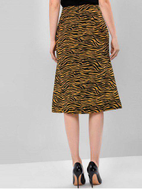 new ZAFUL Tiger Print Zipper A Line Skirt - COOKIE BROWN L Mobile