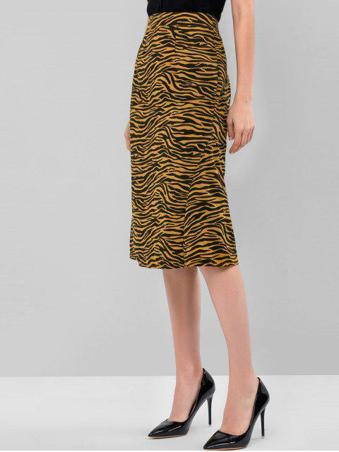 outfit ZAFUL Tiger Print Zipper A Line Skirt - COOKIE BROWN XL Mobile