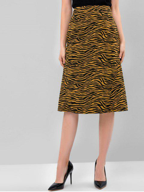 sale ZAFUL Tiger Print Zipper A Line Skirt - COOKIE BROWN M Mobile