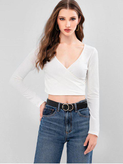 ZAFUL T-shirt Court Superposé Plongeant à Manches Longues - Blanc XL Mobile