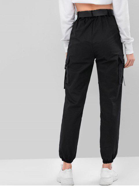 Jogger Pantalones de Cintura Alta con Hebilla - Negro XL Mobile