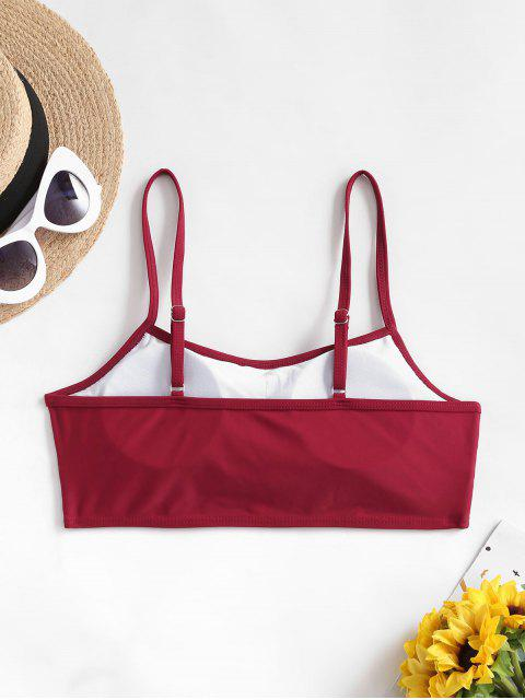 online ZAFUL Ruched Cami Padded Bikini Top - RED WINE 2XL Mobile