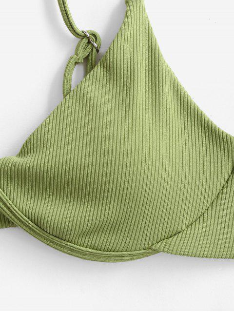 buy ZAFUL Ribbed Underwire Bikini Top - LIGHT GREEN S Mobile