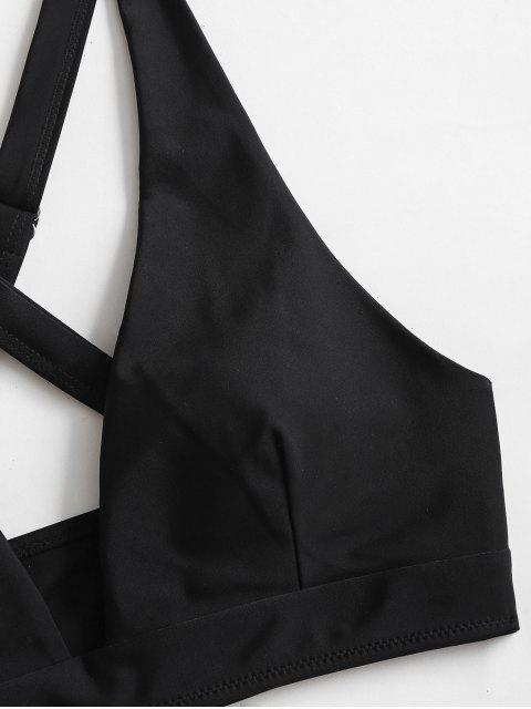 fashion ZAFUL High Cut Crisscross Bikini Swimsuit - BLACK S Mobile