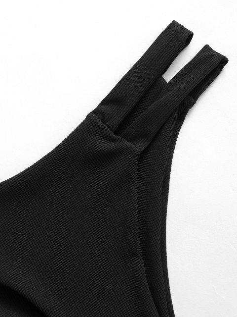 shops ZAFUL Side Cutout Ribbed Bikini Bottom - BLACK M Mobile