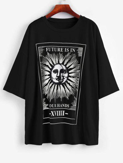 Camiseta Suelta En Forma De Sol Y Luna Con Letras Estampadas - Negro L