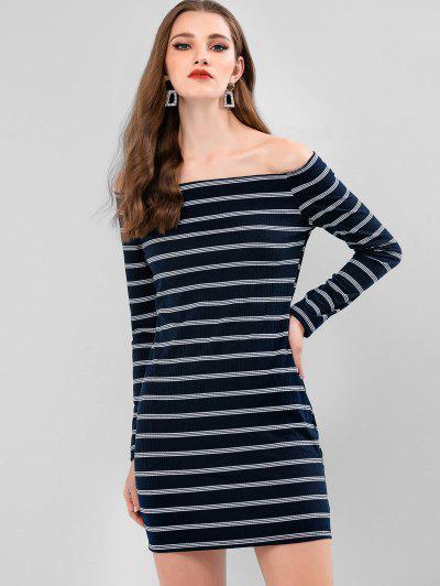 Stripes Ribbed Off Shoulder Bodycon Dress - Dark Slate Blue M