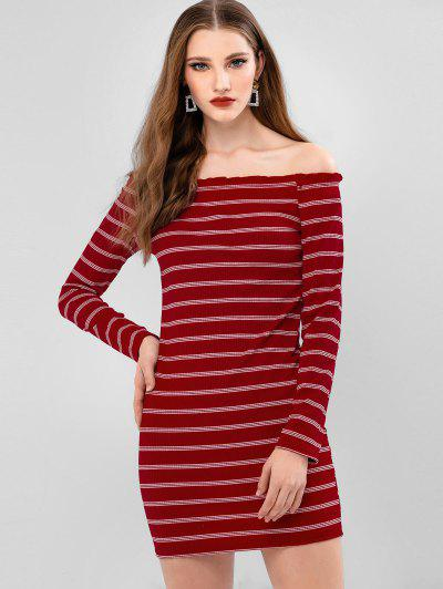 Stripes Ribbed Off Shoulder Bodycon Dress - Red L