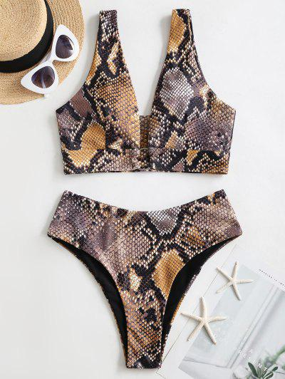ZAFUL Snake Print Ring Bikini Swimsuit - Multi-a L