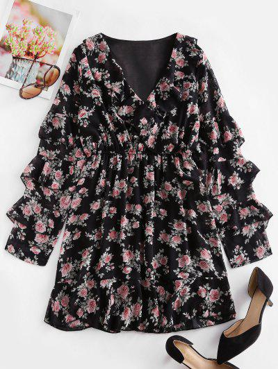 Floral Layered Ruffled Surplice Chiffon Dress - Black S