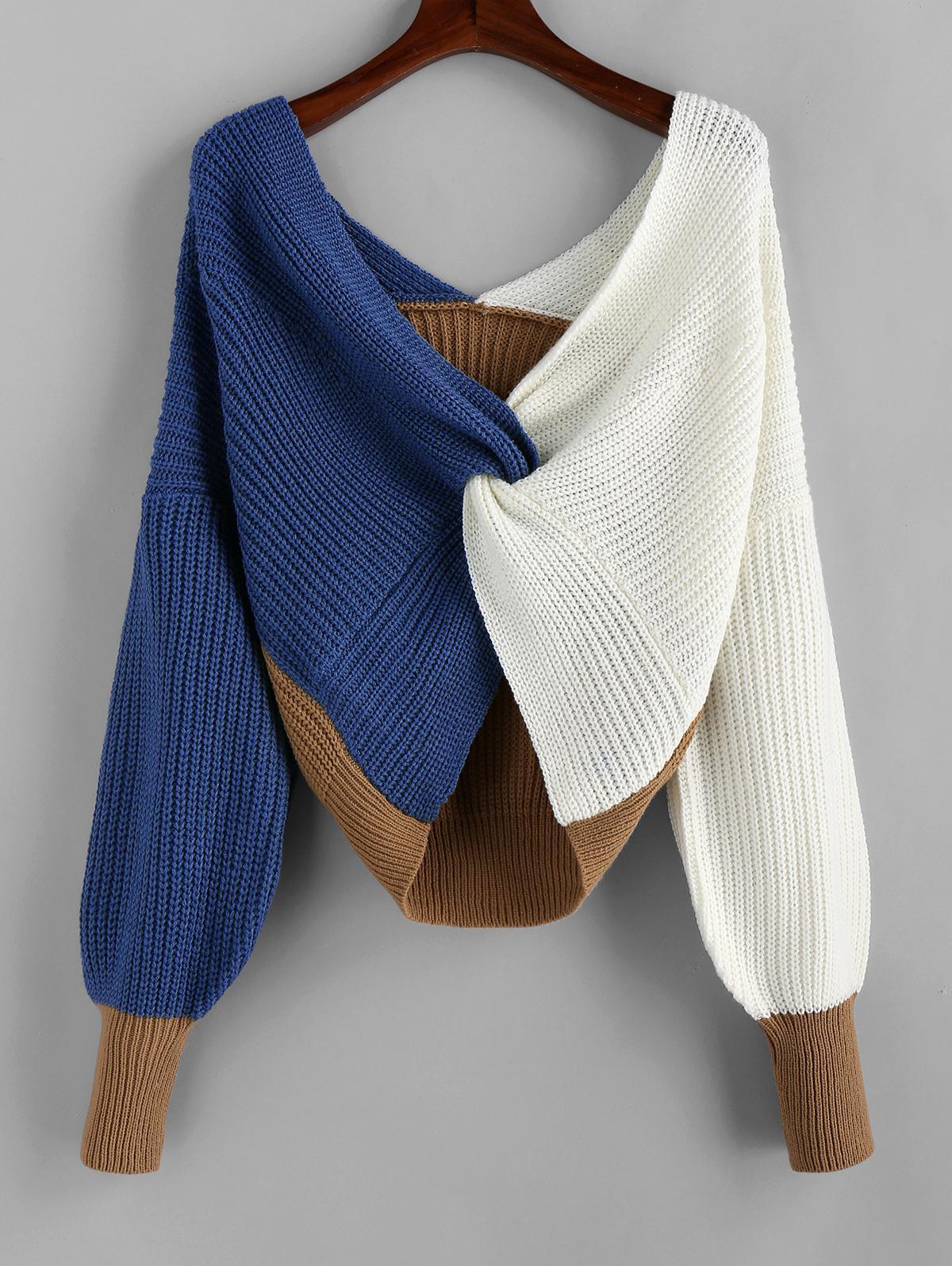 Plunge Colorblock Twist Sweater