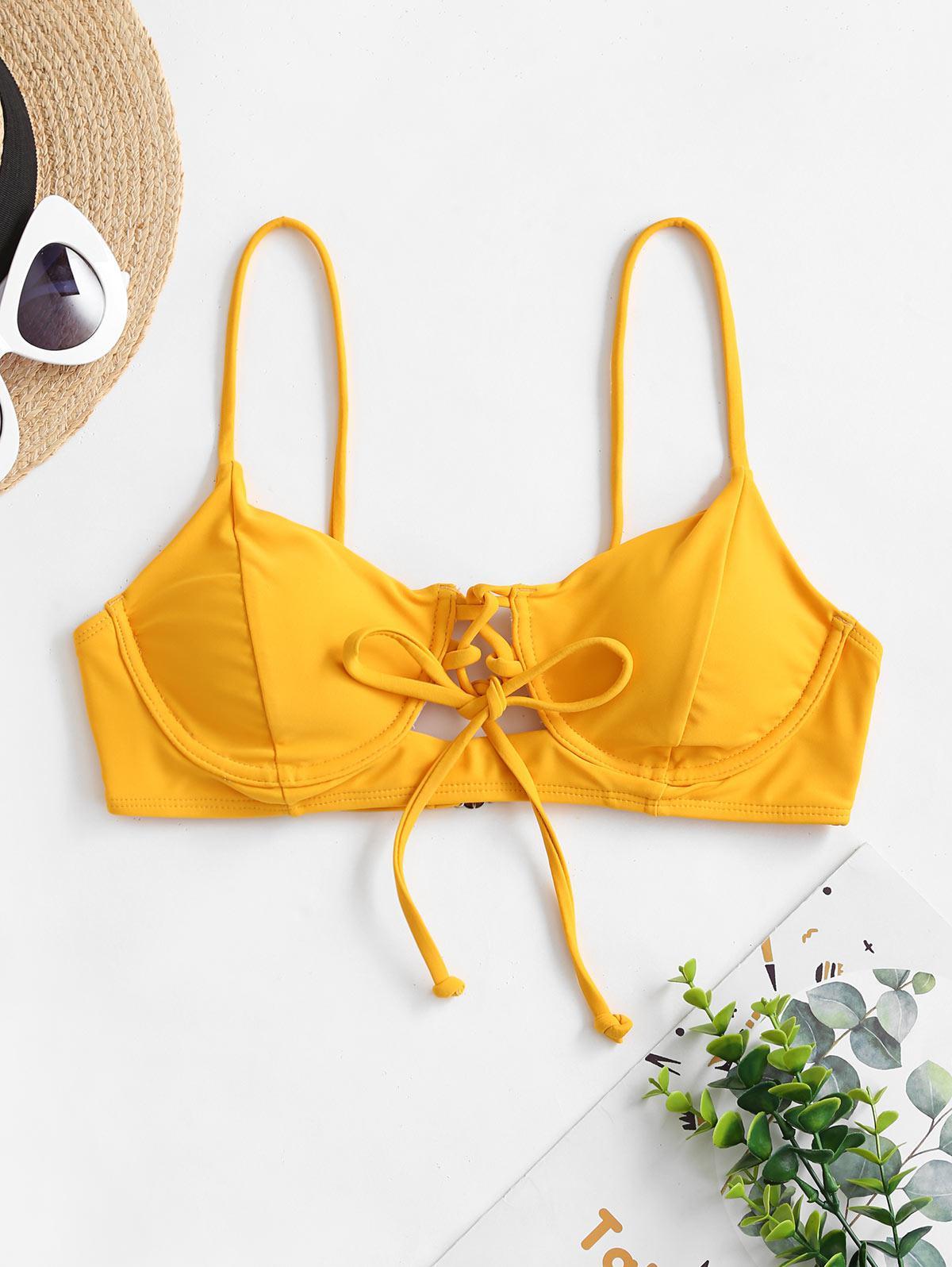 ZAFUL Lace Up Tie Underwire Bikini Top фото