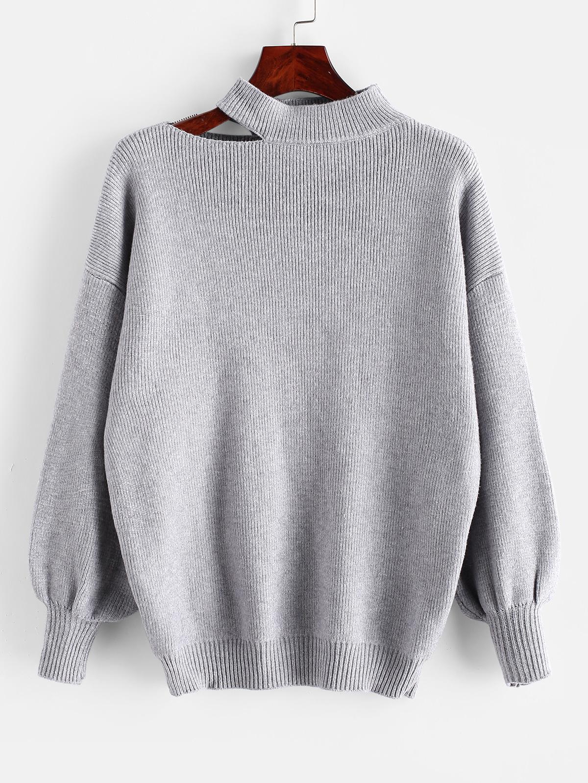 Cutout High Neck Drop Shoulder Sweater