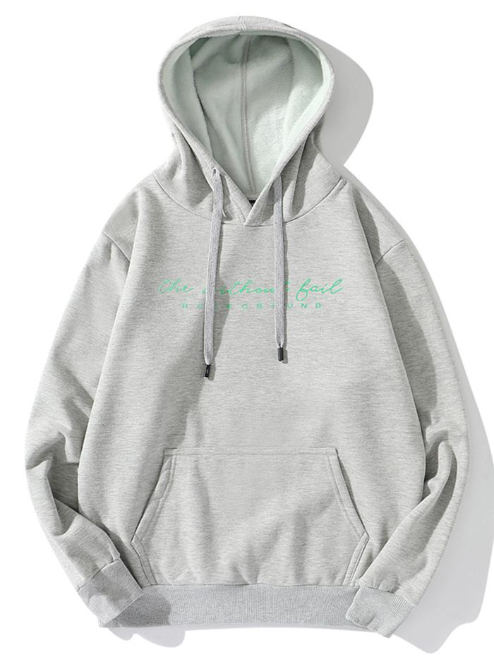 Without Fail Letter Print Fleece Drawstring Hoodie фото