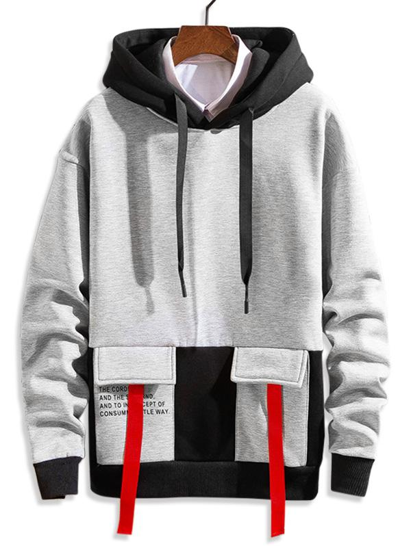 Letter Printed Color Spliced Drawstring Hoodie фото